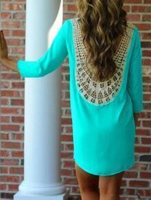 Green Teal Lace Crochet Appliques Shift Dress