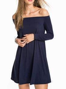 Blue Slate Boat Neck Shift Dress