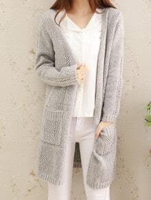 Grey Long Sleeve Open-Knit Pockets Coat