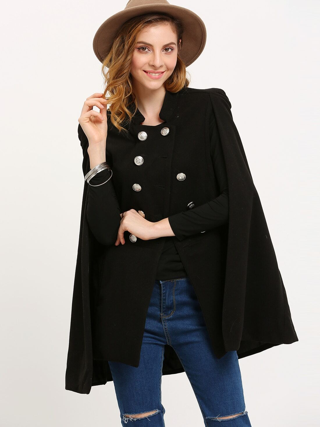 Black Stand Collar Double Breasted Cape Coat