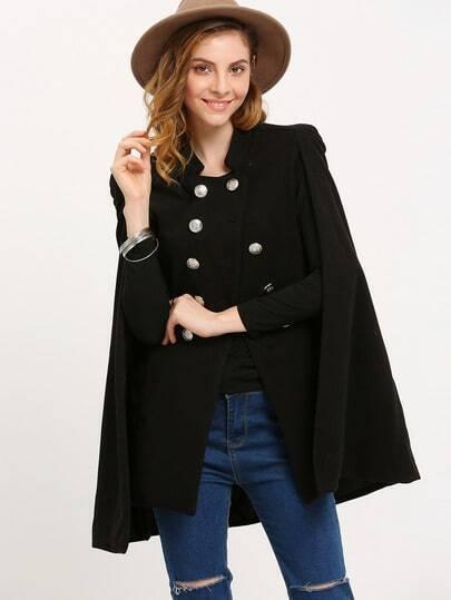 Black Stand Collar Double Breasted Cape Blazer