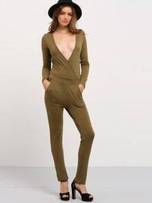 Army Green Deep V Neck Long Sleeve Jumpsuit