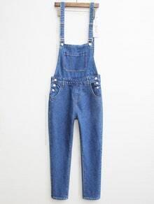 Blue Strap Pocket Denim Jumpsuit