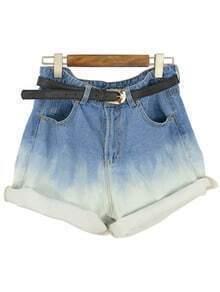 Blue Ombre Cuffed Denim Shorts