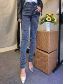 Grey High Waist Denim Pant