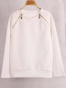 White Round Neck Zipper Sweatshirt