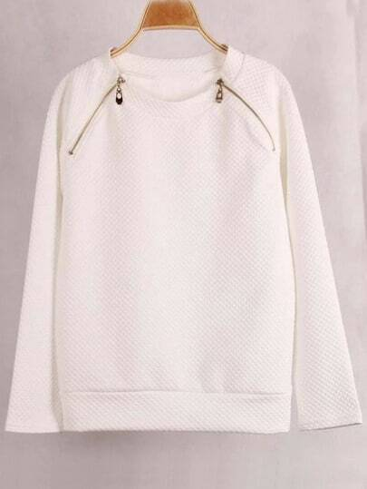 White Round Neck Zipper Sweatshirt