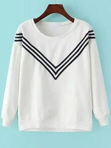 White Round Neck V Striped Sweatshirt