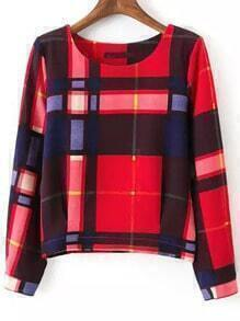Multicolor Round Neck Plaid Crop Sweatshirt