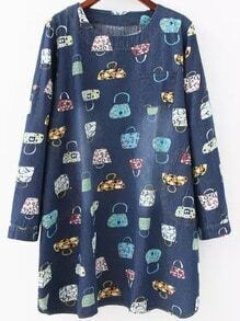 Multicolor Round Neck Bags Print Denim Dress