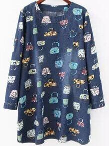Multicolor Round Neck Bags Print Denim Dress