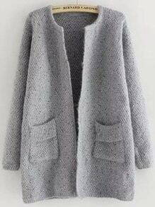 Grey Long Sleeve Pockets Loose Cardigan
