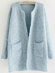Blue Long Sleeve Pockets Loose Cardigan