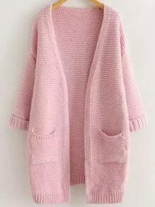 Pink Long Sleeve Casual Pockets Cardigan