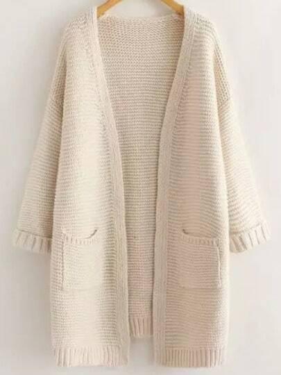 Beige Long Sleeve Casual Pockets Cardigan