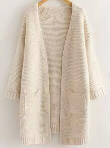 Beige Long Sleeve Casual Pockets Cardigan