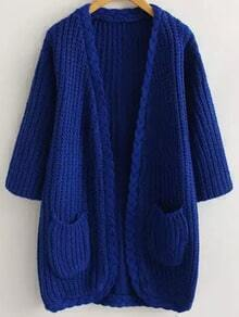 Blue Casual Pockets Cable Knit Cardigan