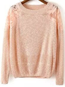 Pink Round Neck Embroidered Lace Knit Sweater