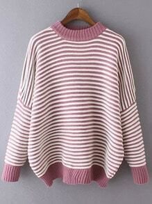 Red White Casual Striped Knit Sweater