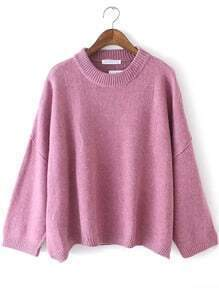 Purple Crew Neck Casual Knit Loose Sweater