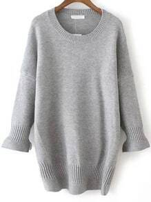 Grey Bell Sleeve Loose Casual Sweater