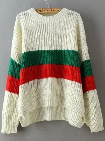 Multicolor Round Neck Striped Dip Hem Sweater