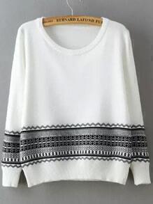 White Black Round Neck Geometric Print Sweater