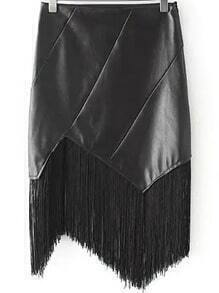 Black Slim Tassel PU Skirt