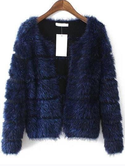 Blue Long Sleeve Striped Faux Fur Coat
