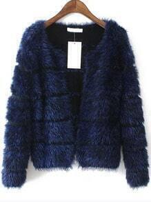Blue Long Sleeve Striped Faux Fur Coat