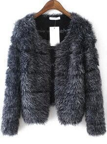 Grey Long Sleeve Striped Faux Fur Coat