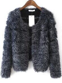 Grey Long Sleeve Striped Faux Fur Coat