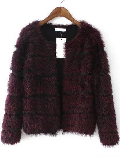 Red Long Sleeve Striped Faux Fur Coat