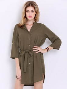 Army Green Half Sleeve Lapel Dress