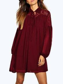Wine Red Long Sleeve Lapel With Lace Dress