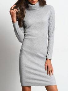 Grey Fairisle Marl Knittet Mock Neck Allure Decent Long Sleeve Designs Casual Dress