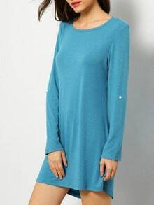 Blue Textured Long Sleeve Casual Dress