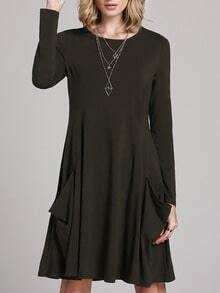 Green Long Sleeve Pockets Casual Dress