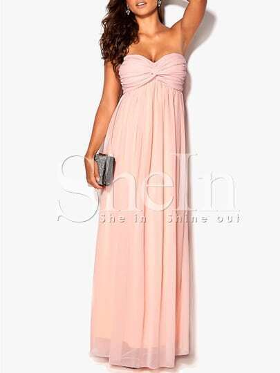 Vestito senza spalline rosa