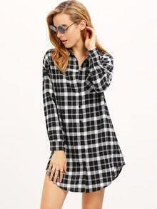 Black White Long Sleeve Lapel Grid Blouses Plaid Dress