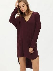 Purple Eggplant Aubergine Long Sleeve Deep V Neck Dress