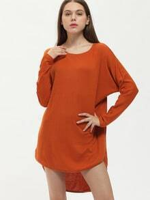 Brown Bronze Suede Dolman Long Sleeve Bat Sleeve High Low Dress