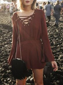 Brown Long Sleeve Lace Up Playsuit