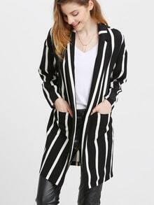 Black White Long Sleeve Striped Coat