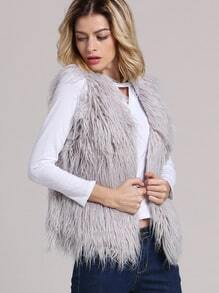 Grey Sleeveless Faux Fur Vest