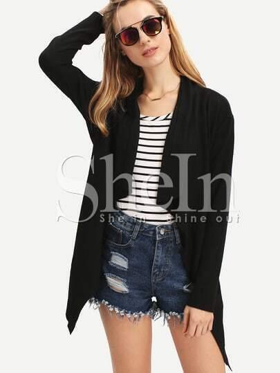 Black Long Sleeve Asymmetric Coat