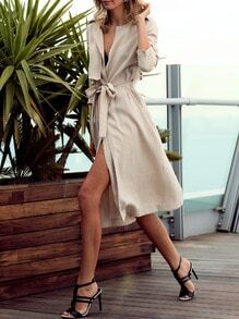Khaki Long Sleeve Asymmetric Trench Coat