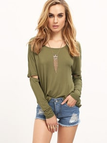 Army Green Long Sleeve Cut Out T-Shirt