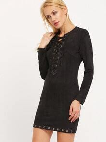 Black Long Sleeve Lacing Lace Up Bodycon Dress Clubwear Clubdresses