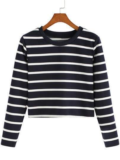 Black White Round Neck Striped Crop Sweatshirt